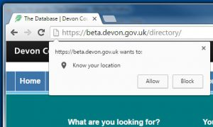 Using location finder in Chrome
